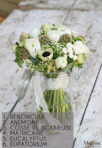 Bouquet de mariee blanc et vert par Madame Artisan fleuriste - La mariee aux pieds nus