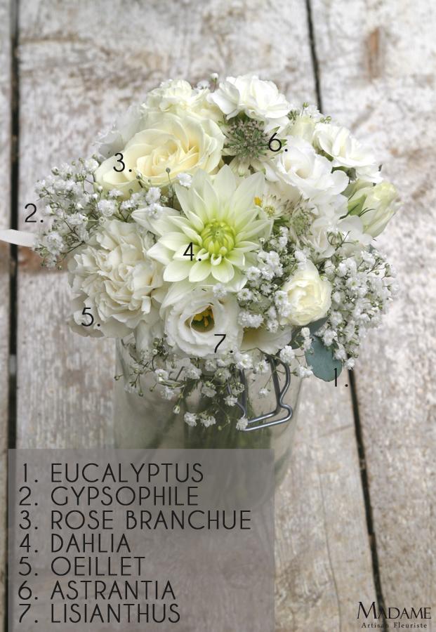 Bouquet de mariee blanc par Madame Artisan fleuriste - La mariee aux pieds nus