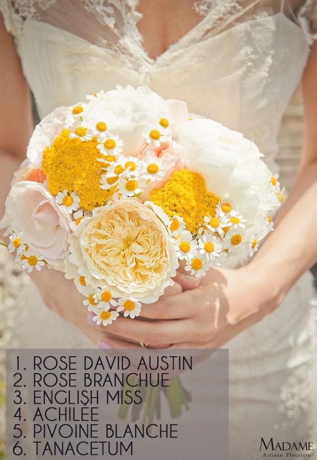 Bouquet de mariee jaune par Madame Artisan fleuriste - La mariee aux pieds nus