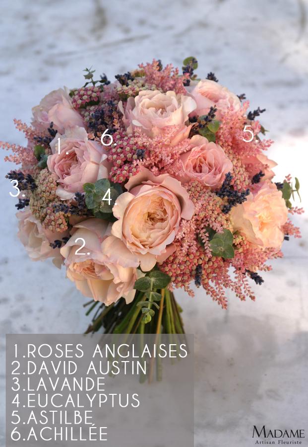 Bouquet de mariee rose et lavande par Madame Artisan fleuriste - La mariee aux pieds nus