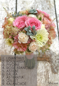 Bouquet de mariee rose pastel par Madame Artisan fleuriste - La mariee aux pieds nus