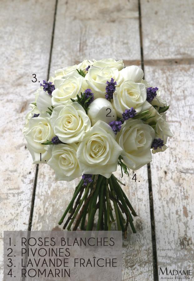 Bouquet de mariee roses blanches et lavande par Madame Artisan fleuriste - La mariee aux pieds nus