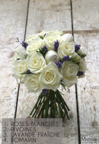 Bouquet de mariee roses blanches et lavande par Madame Artisan fleuriste - La mariee aux pieds nus