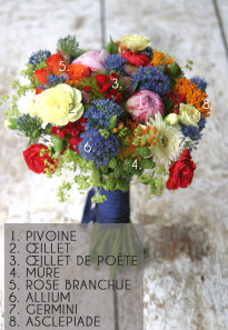 Bouquet de mariee rouge et bleu par Madame Artisan fleuriste - La mariee aux pieds nus