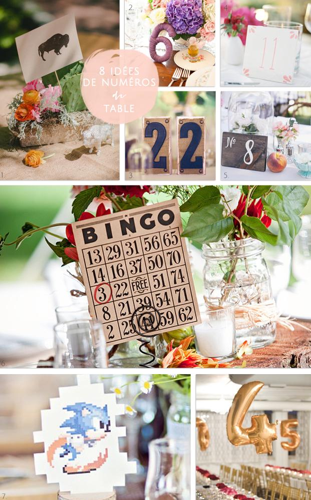 La mariee aux pieds nus - 8 idees de numeros  de table
