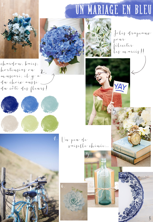 La mariee aux pieds nus - Carnet d inspiration - mariage en bleu