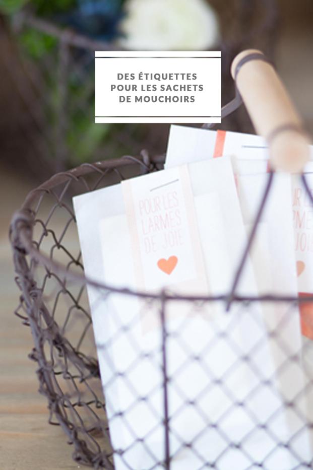 FleurdeSucre - DiY - Des etiquettes personnalisees pour les sachets de mouchoirs - Pour les larmes de joie - La mariee aux pieds nus