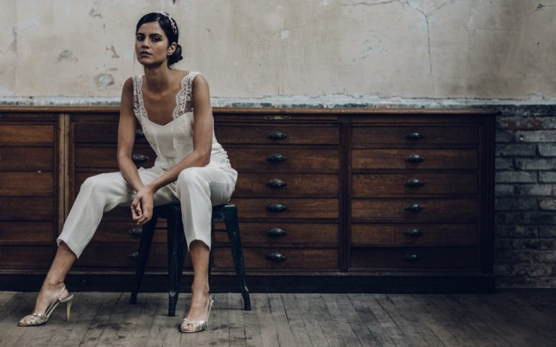 La mariée aux pieds nus - Laure de Sagazan - Robes de mariée - Collection 2016 - Combinaison Dunn - Photo : Laurent Nivalle