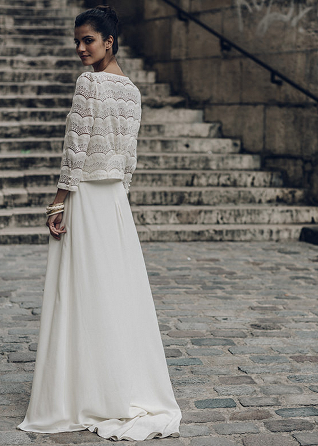 La mariée aux pieds nus - Laure de Sagazan - Robes de mariée - Collection 2016 - Veste Lafontaine et Robe Malot - Photo : Laurent Nivalle
