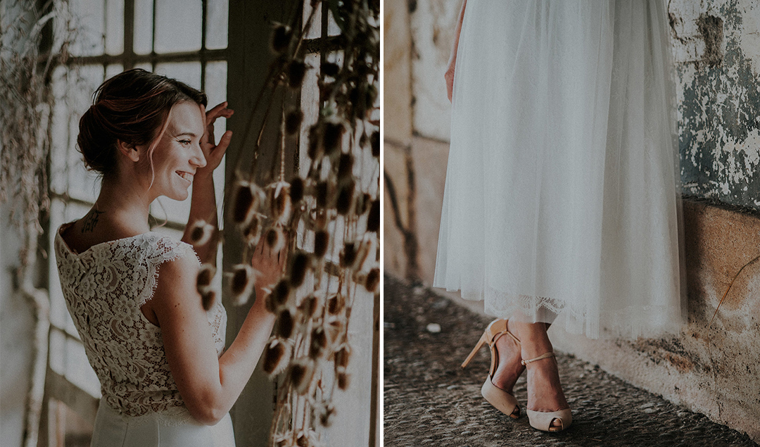 Atelier 2B - Robes de mariée - Blog mariage : La mariée aux pieds nus - Photos : Celine Zed