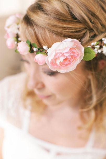 Alex Tome - La mariee aux pieds nus - English Garden - Accessoires de mariée - Couronne de mariée à fleurs - Kate rose