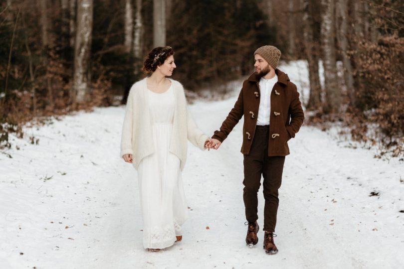 Un mariage en hiver sous la neige en Alsace